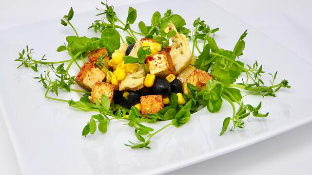 Spicy Salad Pea and tofu salad