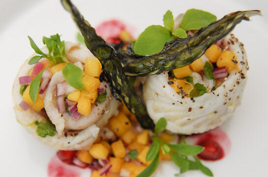 Plaice Filet with Mango Salsa, Pomegranate Juice and Soy Sauce