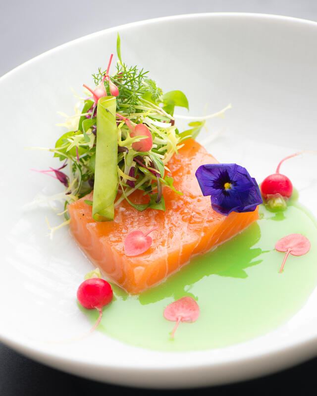 Pickled Artic char with apple-horseradish broth