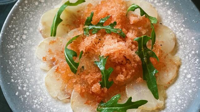 Sechuan Button cured monkfish with tomato, garlic and chili granita