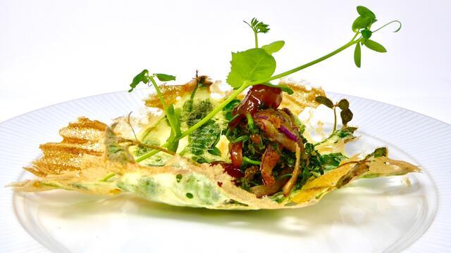 Salad Pea Bhaji style with mango chutney