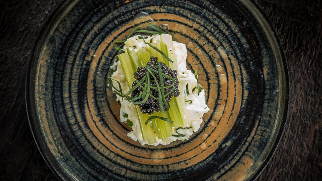 Braised celery darts with creamy potato and goat cheese and Imperial Hertiage caviar