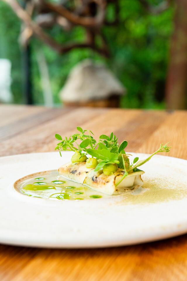 Chou-rave et fromage de chèvre, haricot soja, Salad Pea