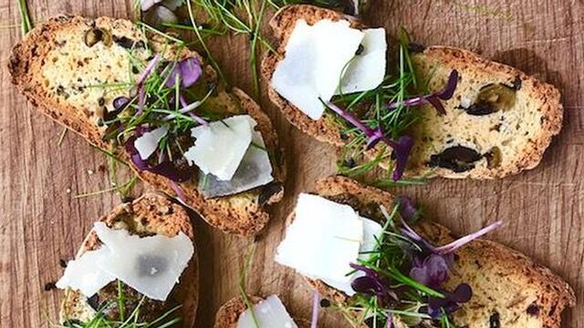 Mixed Olive, Sakura Cress and Rock Chives Biscotti