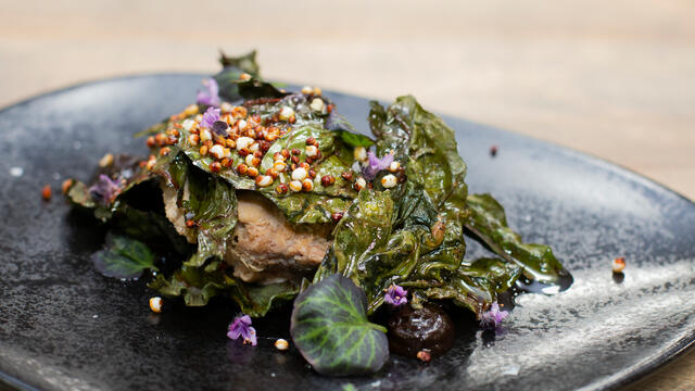 Pork and gin rillette with crispy chard, toasted quinoa and black garlic