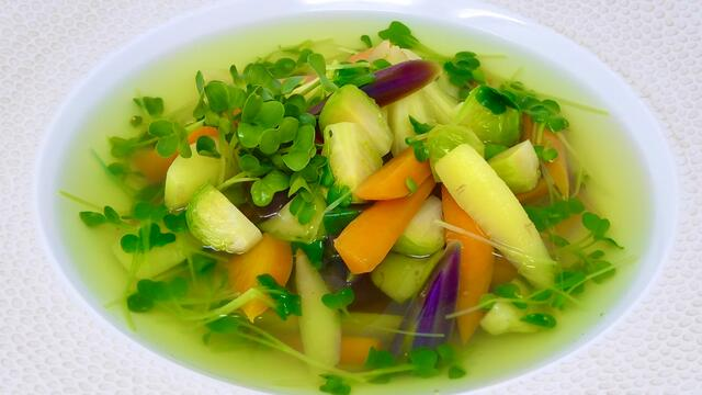 Root vegetables and BroccoCress bouillon