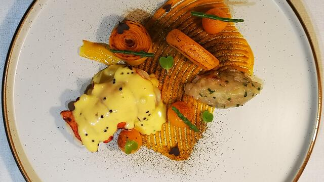 Lobster, butternut squash and Sechuan Button textures, samphire and Hollandaise sauce