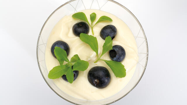 Trifle met blauwe bessen, advocaat-mascarpone-room en chocolade cake