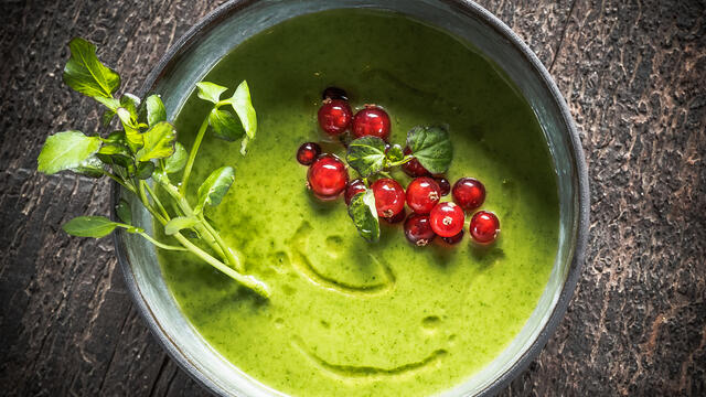 Cold watercress soup with Hippo Tops, red currant and argan oil