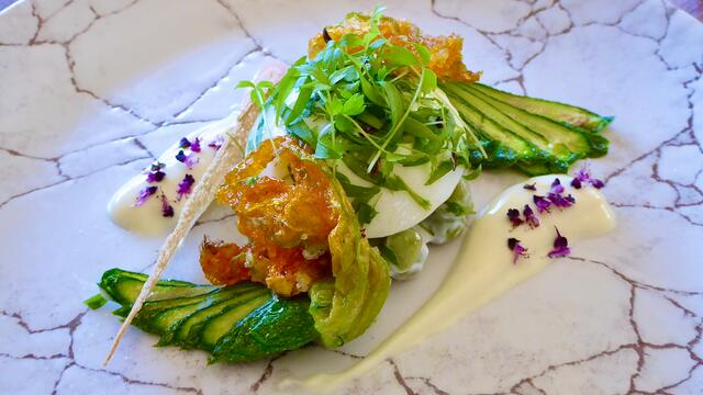Courgette flower, boiled egg and light mustard dressing