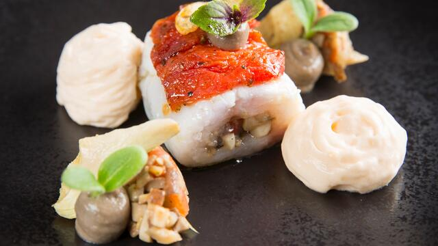 Stuffed monkfish with mushroom, dried tomato and Borage Cress
