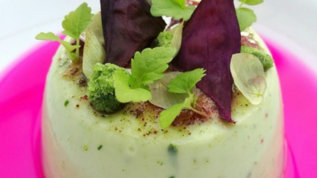 Cardamom Leaf Pannacotta with Yka Leaves Syrup