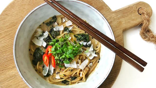 Thai Peanut Ramen with Brocco Cress