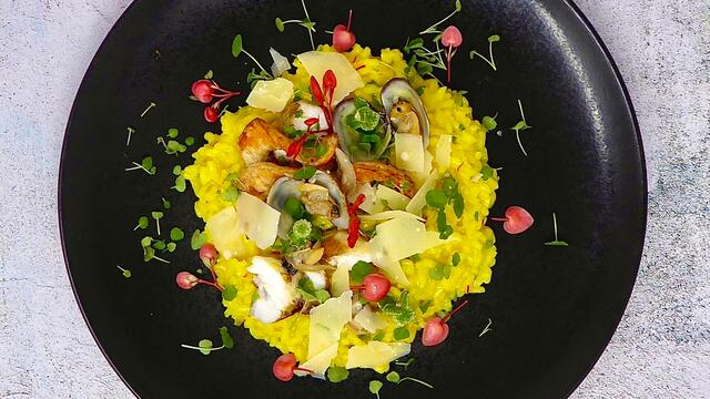 Seafood and saffron risotto