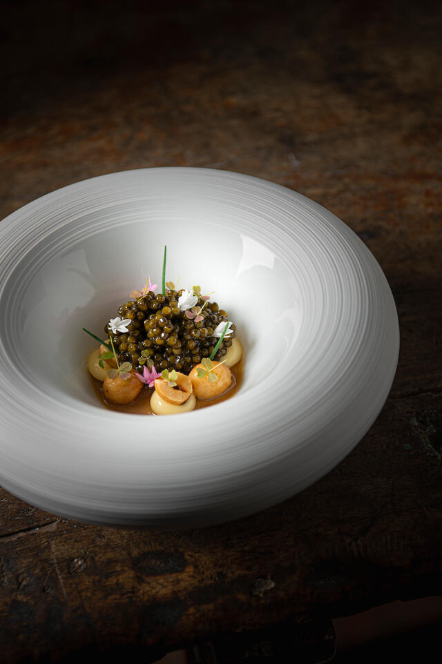 N25 caviar Selection Jan Hartwig chawanmushi, hazelnut, rum raisins, leek oil from Kyoto and Baby Clover Cress