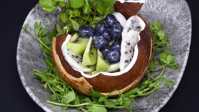 Fresh coconut exotic fruit salad