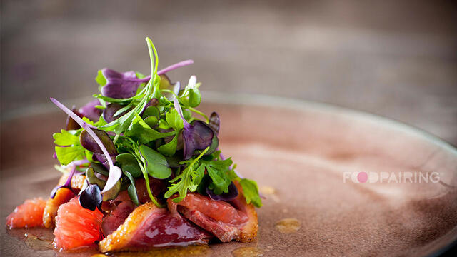 Grapefruit – duck – yuzu – honey salad