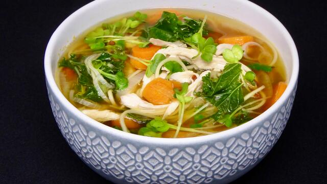 Chicken and carrot noodle soup