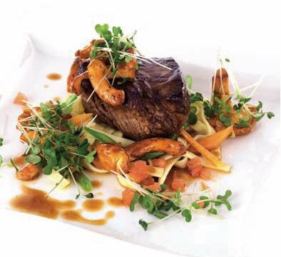 Veal tenderloin with chanterelles