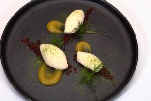 Ice cream dish with Kaffir Lime Leaves