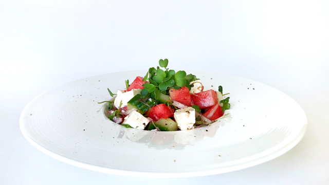 Watermelon salad with Daikon Cress