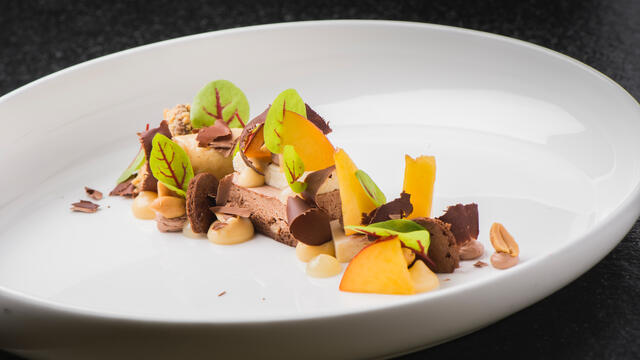 Nectarine, chocolate and yuzu