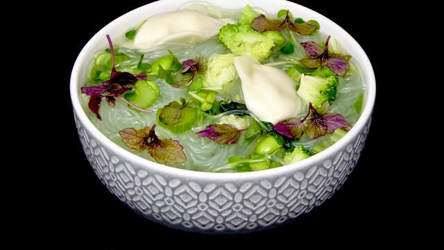 Broccoli and dumpling noodle soup