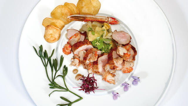 Surf and turf from lamb and saltwater langoustine