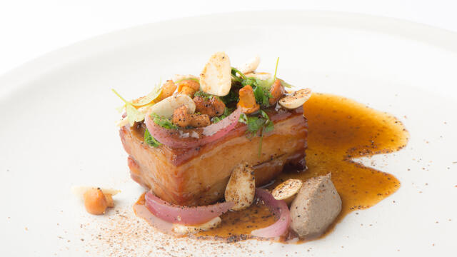 Veal breast, Zorri Cress, girolles, almond, onion
