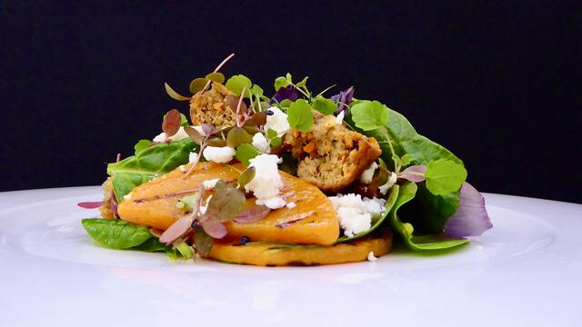 Grilled butternut squash, spinach, feta and falafel