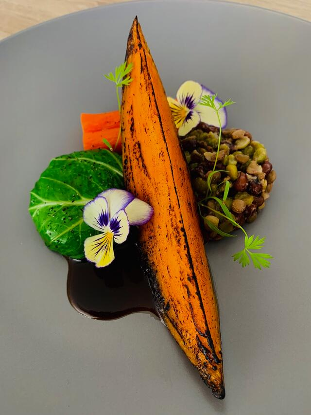 6hr roasted sweet potato with Cornabria Blossom and Persinette Cress