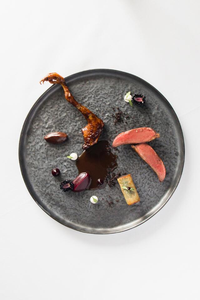 Pigeon, blackberry, soft bitter chocolate and pastilla