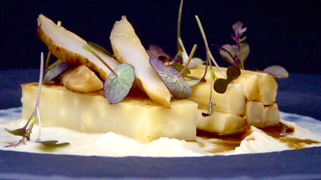 Braised Jerusalem artichokes, salsify and celeriac