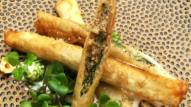 Turkish Persinette Cress Sigara Borek with Melissa Cress Pearls & Chilli Cress Dip