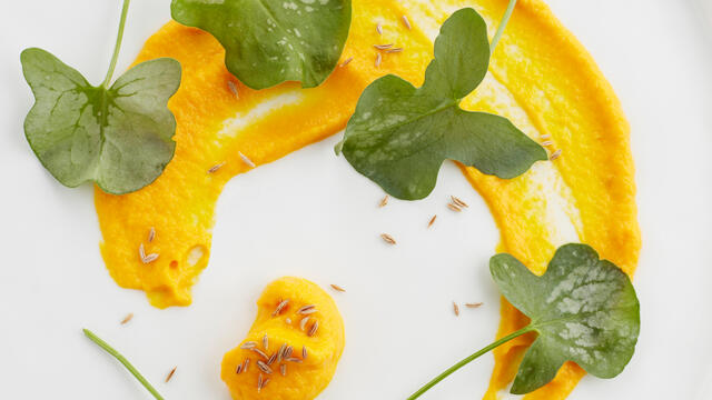 IJskruid met dipsaus van wortel en limoen