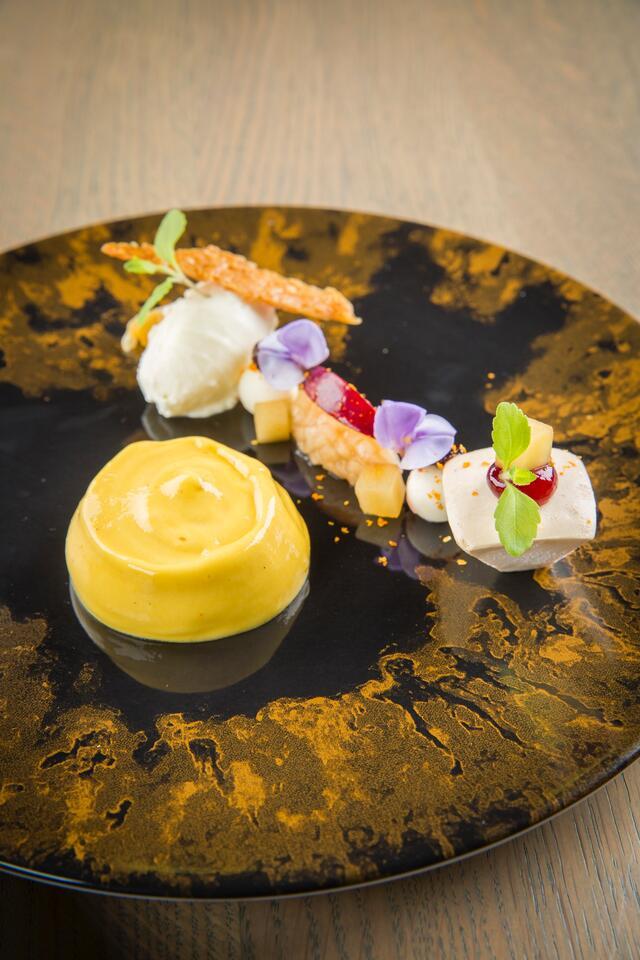 Mango mousse, nougat and celeriac ice cream
