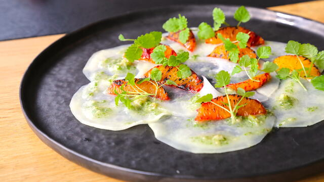 Kohlrabi carpaccio, burnt orange, Melissa Cress pesto