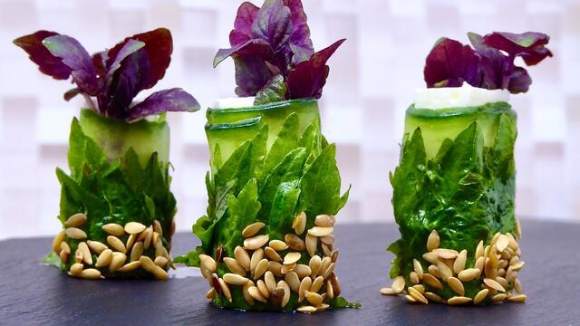 Shiso Leaves Green met fetakaas en gember