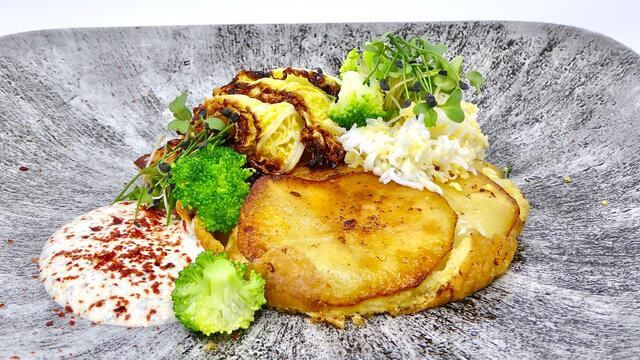 Potato omelette with braised cabbage