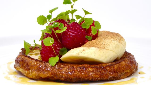 Raspberries and banana eggy bread