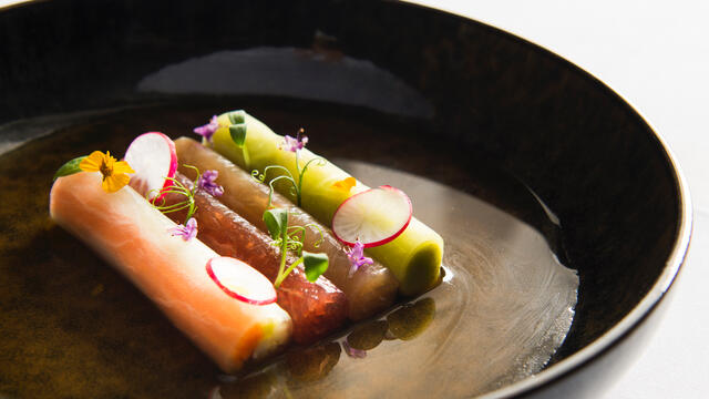 Tuna sashimi, kingfish, pickled vegetables and spicy zucchini cream