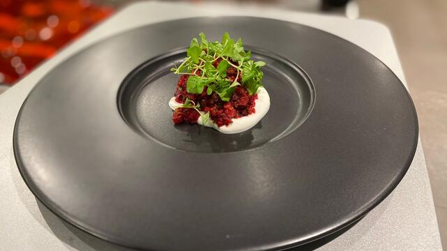 Baked vegetables tartar with Sechuan Cress