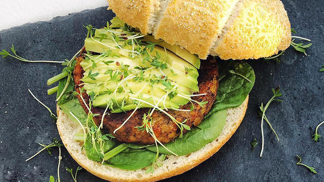 Avocado Lentil Burger with Garden Cress