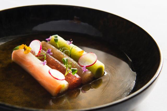 Tuna sashimi, kingfish, pickled vegetables and spicy zucchini cream