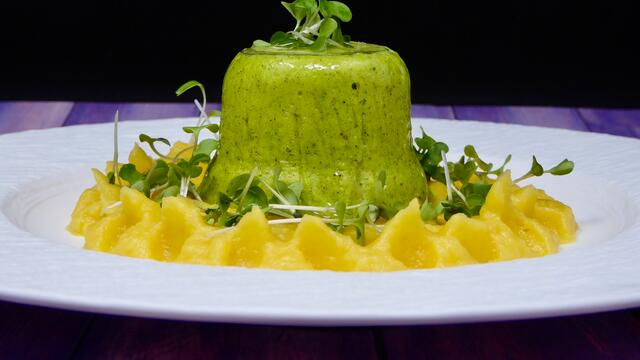 BroccoCress flan with carrot puree