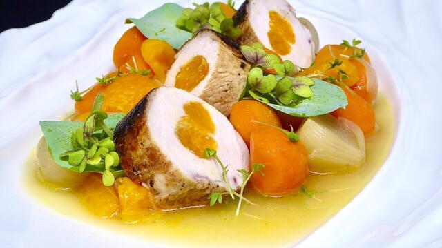 Chicken and clementine ballotine