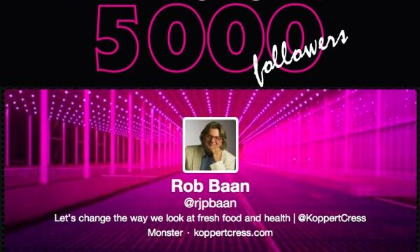 Rob Baan achieves a new milestone: 5000 Twitter followers