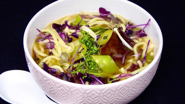 Miso and Sakura Cress noodle soup
