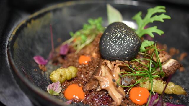 Kimchi, beetroot gel, edible soil, Shiitake