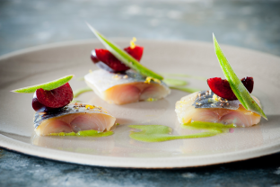 Cured Mackerel and Cherries with Green Apple, Majii Leaf Vinaigrette